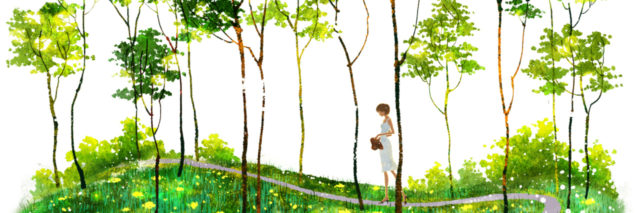 A watercolored illustration of a girl walking along a path, surrounded by trees.