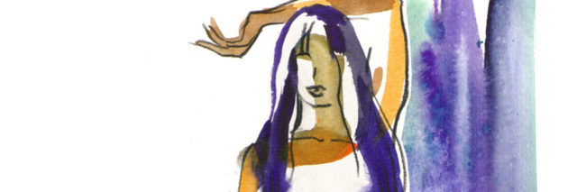 watercolor painting of a woman with purple hair