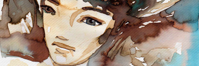 A water color illustration of a woman with brown hair.