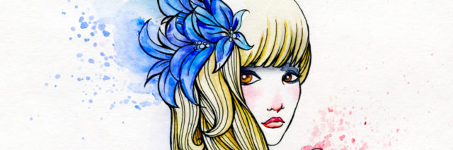 Watercolor and Ink Portrait of a Girl Holding Heart. Stylish Valentine's Day Illustration.