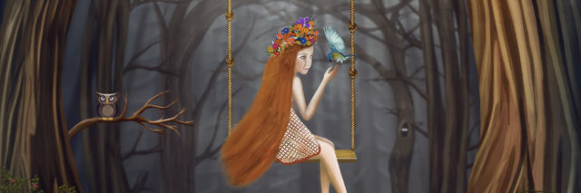 An illustration of a girl sitting on a swing in the woods, with a bird on her finger.