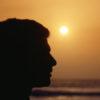 Man at sunset, profile, close-up