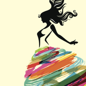 A silhouette illustration of a woman wearing a bright and colorful skirt.
