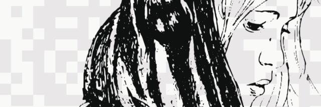 Sketch of woman, looking sad