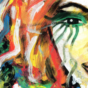 Painting detail with woman's eye and abstract rainbow painted background