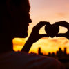 Heart in the city silhouette