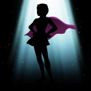 silhouette of a female superhero