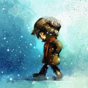 digital painting of little girl walking in winter outdoor