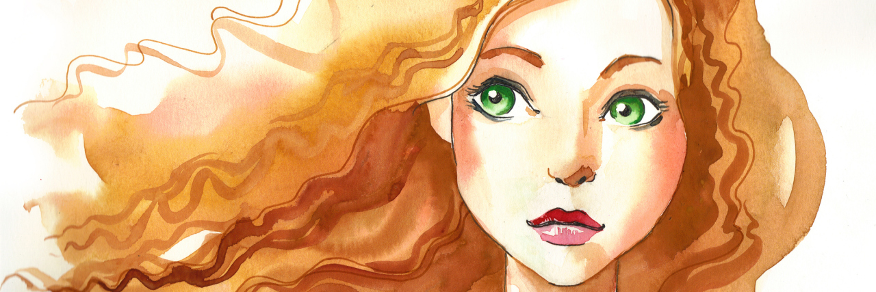 Watercolor sketch of a girl with red hair