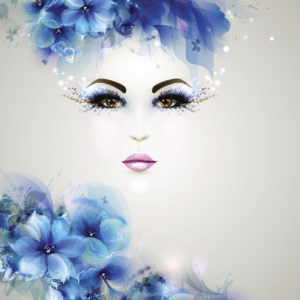 An illustration of a woman's face with blue flowers on her head.