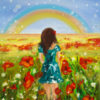 An oil painting of a woman in a field of flowers, looking towards a blue sky with a rainbow.