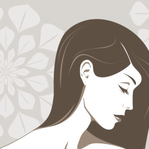 Vector illustration of the beautiful girl with the long hair