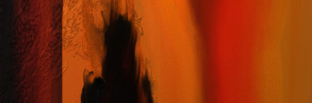 Abstract digital oil painting of black sillhouettte in orange colors.