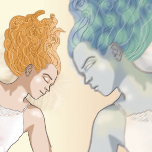 On the left side woman sleeping peaceful , on the right side blue skinned girl with green hair and evil face