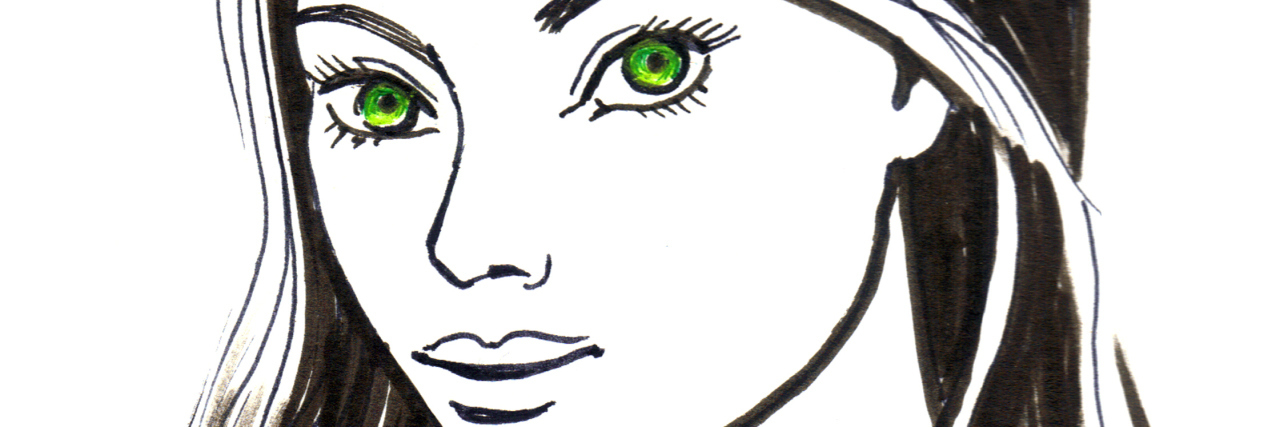 Ink sketch of a beautiful young woman with green eyes and long black hair