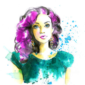 Watercolor fashion woman in a green dress