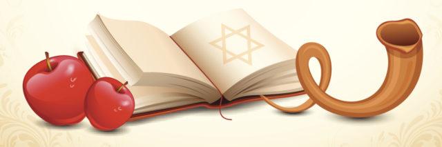 An illustration for Yom Kippur, illustrating doves, apples, a book, and horn.