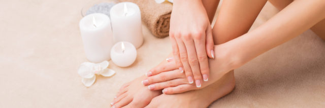 woman at the spa with a manicure and pedicure