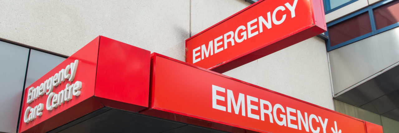 Hospital emergency department entrance.