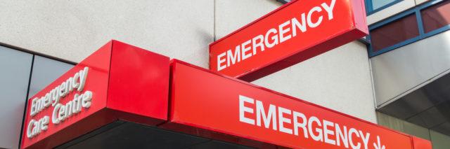 Hospital emergency department entrance.