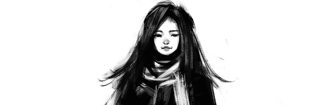 digital painting of sketched beautiful girl acrylic on canvas texture