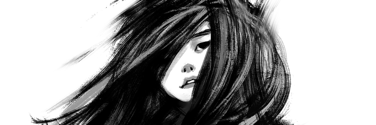 Digital paining of a woman with long hair, monochrome.