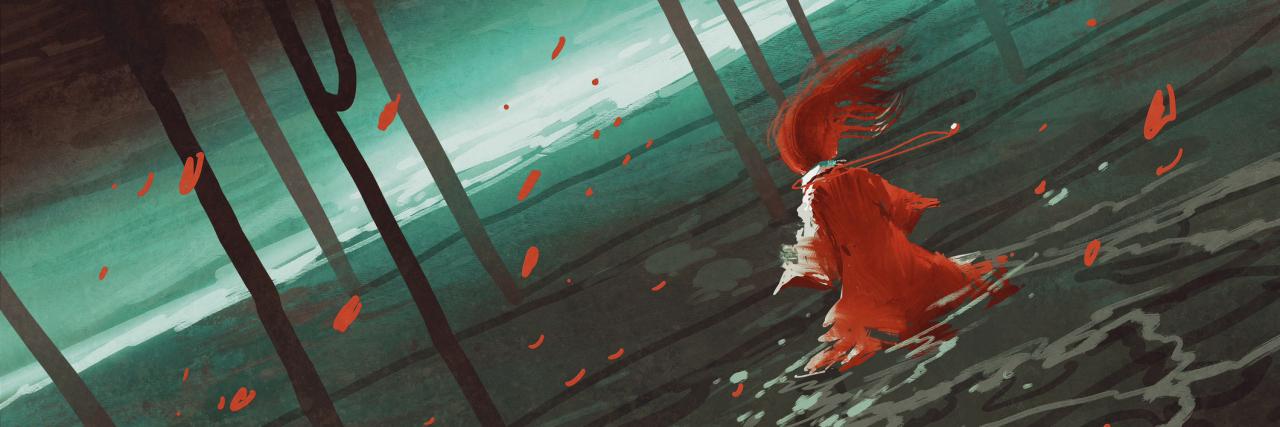 woman in red walking on swamp lake,river,trees,scenery,llustration digital painting