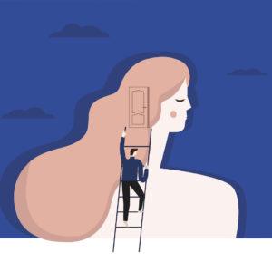 A man climbing into a women's head