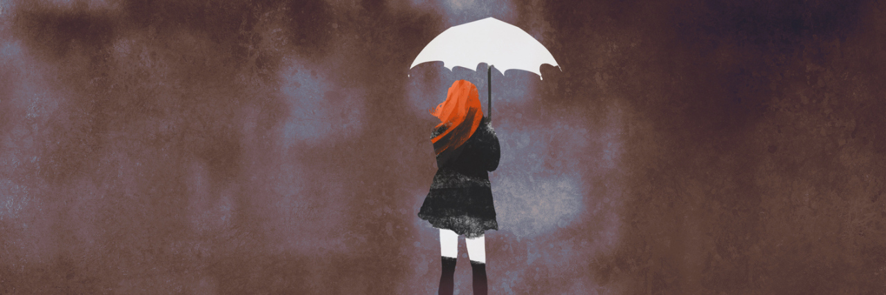 illustration of woman with umbrella and red hair