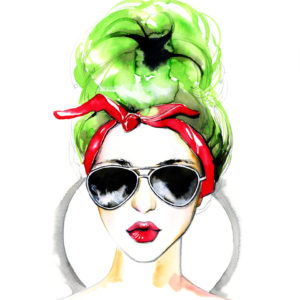 Watercolor fashion lady in the sunglasses