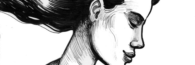 Ink drawing of a woman profile with moon and stars in the black hair