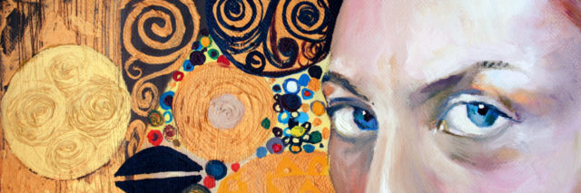 painting of a woman's eyes with abstract orange background