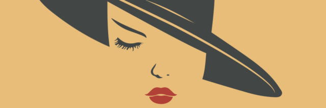 Woman hat and sexy lips icon