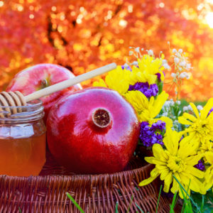 honey, apple and pomegranate for rosh hashanah