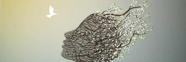 Tree branches forming the face of a woman, looking up at a white bird in the sky.