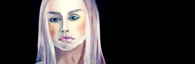 Portrait of beautiful girl, oil on canvas, original painting.