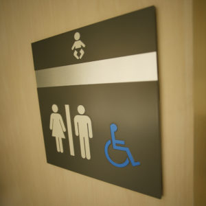 Disability sign on a restroom door.