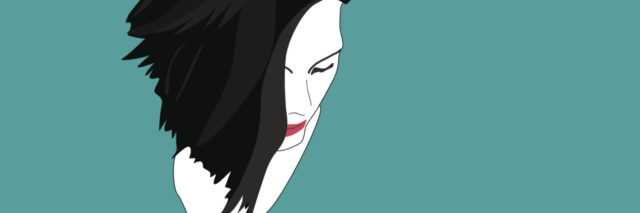 illustration of woman's face against teal background