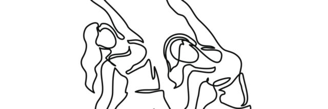 A continuous line image of two women doing yoga.