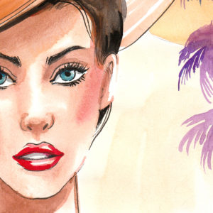 Watercolor portrait of a beautiful woman in the hat with a palm trees in the background
