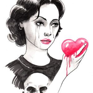 ink sketch of crying girl looking at bleeding heart shape
