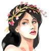 Watercolor image of a beautiful woman
