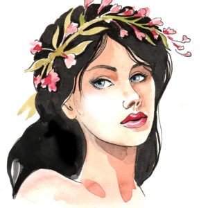 Watercolor image of a beautiful woman