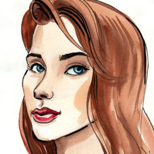 Watercolor painting of a pretty woman