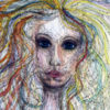 drawing of woman with big eyes and colorful hair