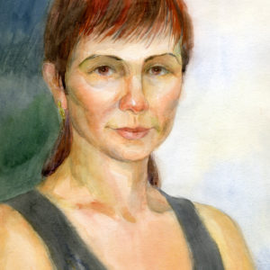watercolor painting of a woman with red hair