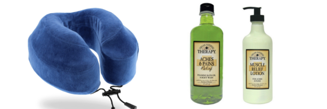 blue neck pillow and village naturals lotion and body wash