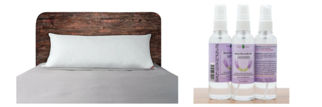 body pillow on a bed and lavendar pillow spray