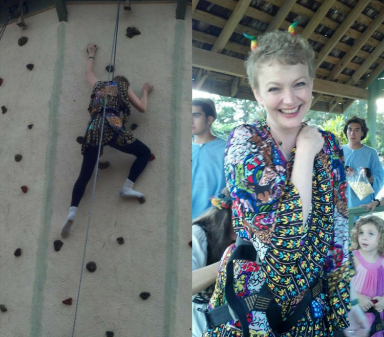 photo of a woman rock climbing next to photo of a woman smiling after climbing