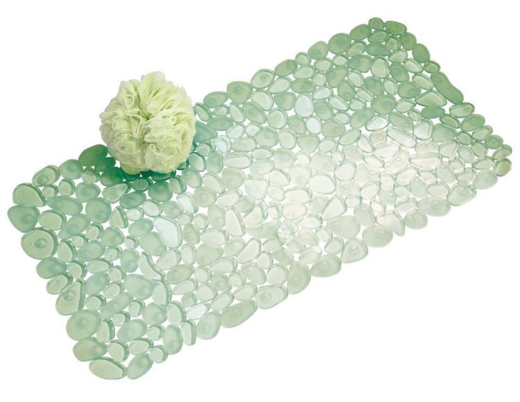 green non-slip bath mat